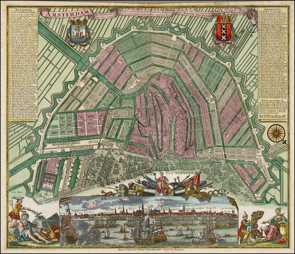 Netherlands and Amsterdam Map By Matthaus Seutter