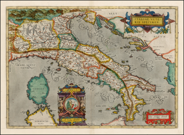 80-Italy Map By Abraham Ortelius