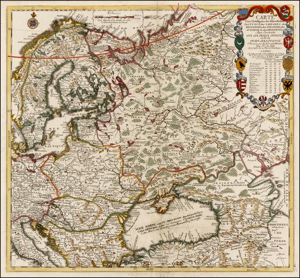 81-Poland, Russia, Ukraine, Balkans and Scandinavia Map By Nicolas de Fer