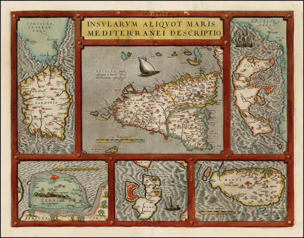 69-Italy, Greece, Mediterranean, Sardinia and Sicily Map By Abraham Ortelius