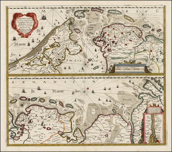 34-Netherlands and Germany Map By Henricus Hondius