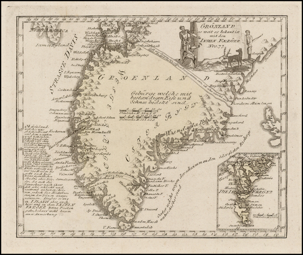 61-Atlantic Ocean and Canada Map By Franz Johann Joseph von Reilly