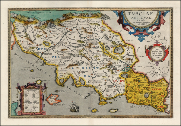 52-Italy Map By Abraham Ortelius