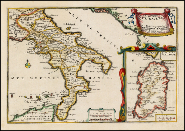 7-Southern Italy and Sardinia Map By Nicolas de Fer