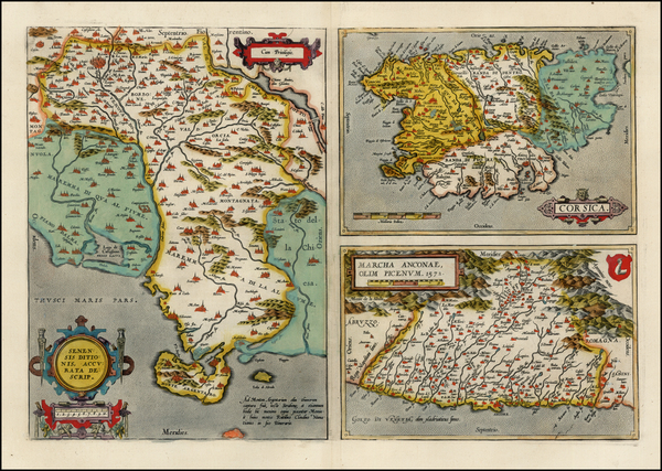 5-France, Italy, Balearic Islands and Corsica Map By Abraham Ortelius