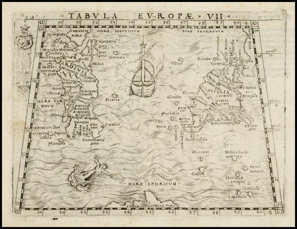44-Italy and Balearic Islands Map By Giacomo Gastaldi