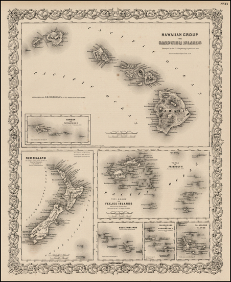 87-Hawaii, New Zealand, Hawaii and Other Pacific Islands Map By Joseph Hutchins Colton