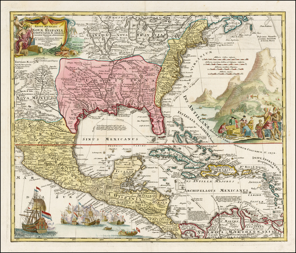 37-United States, South, Southeast, Texas, Midwest and Caribbean Map By Johann Baptist Homann