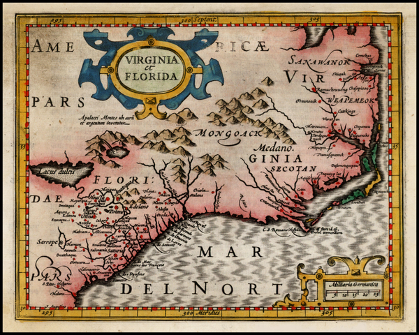 81-Mid-Atlantic and Southeast Map By Jodocus Hondius