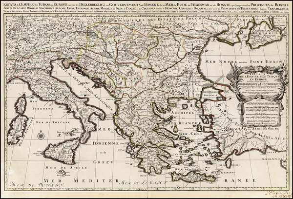 9-Greece, Turkey and Turkey & Asia Minor Map By Alexis-Hubert Jaillot
