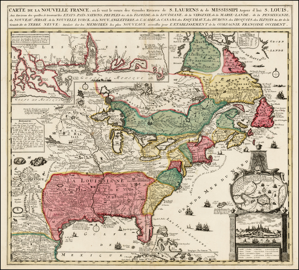 29-United States, South, Southeast, Midwest, North America and Canada Map By Nicolas de Fer