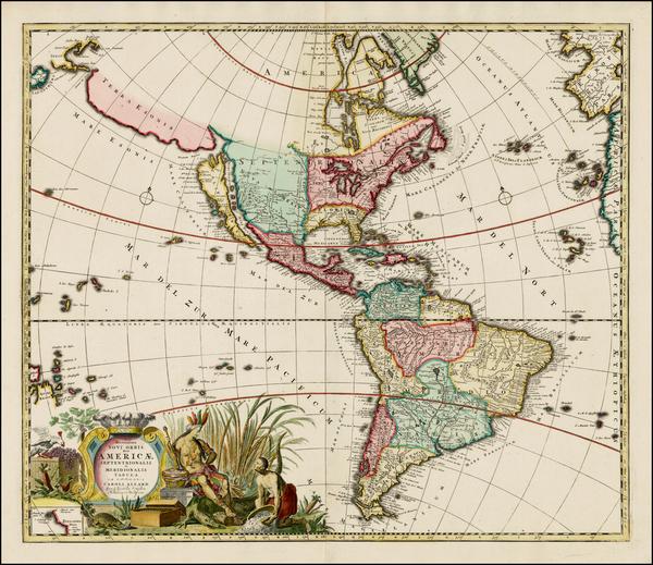 50-South America, Australia & Oceania, New Zealand, California and America Map By Carel Allard