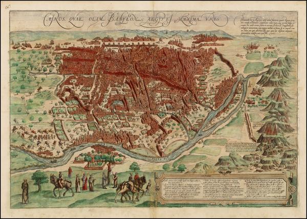 54-Egypt Map By Georg Braun  &  Frans Hogenberg