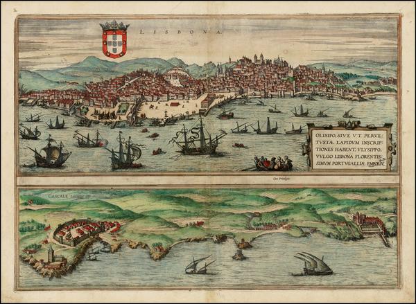 20-Portugal Map By Georg Braun  &  Frans Hogenberg