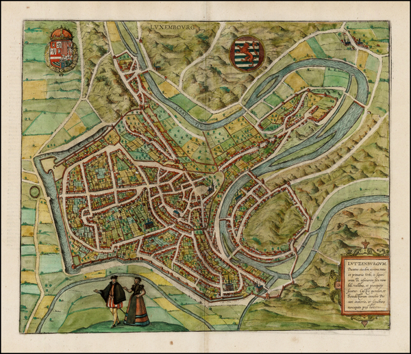65-Luxembourg Map By Georg Braun  &  Frans Hogenberg