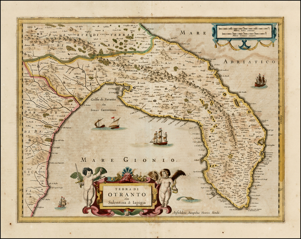 61-Italy Map By Henricus Hondius