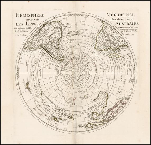 70-Southern Hemisphere, Polar Maps, Australia and New Zealand Map By Philippe Buache