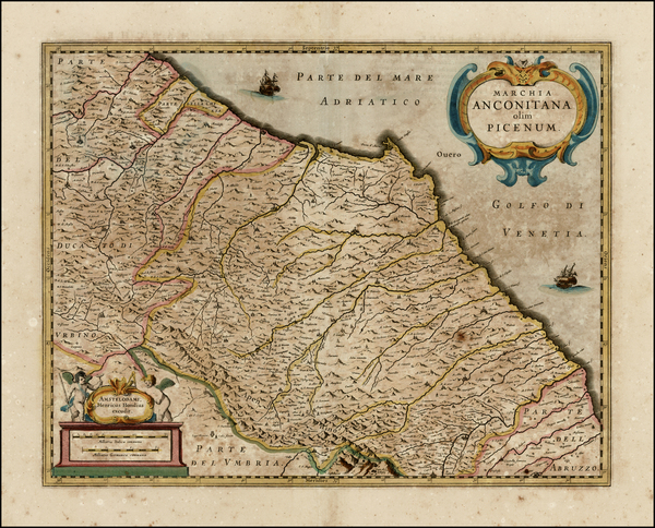 16-Italy Map By Henricus Hondius