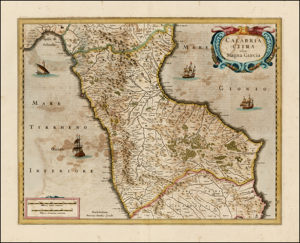 Southern Italy Map By Henricus Hondius