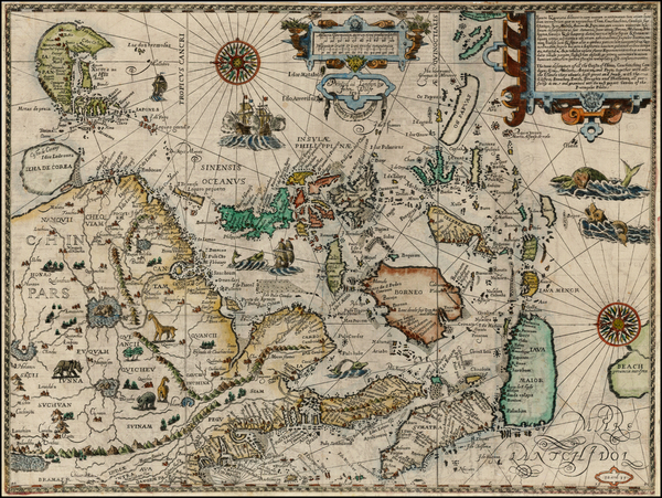 55-China, Japan, Korea, Southeast Asia and Philippines Map By Jan Huygen Van Linschoten / John Wol