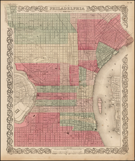 98-Pennsylvania and Philadelphia Map By Joseph Hutchins Colton