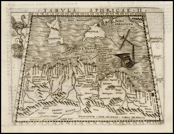 64-Mediterranean, Balearic Islands and North Africa Map By Giacomo Gastaldi