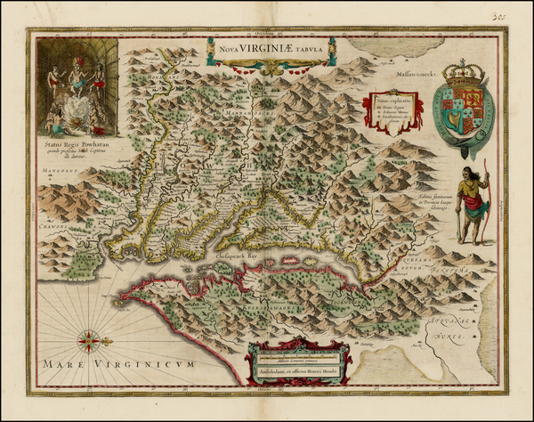 71-Mid-Atlantic and Southeast Map By Henricus Hondius