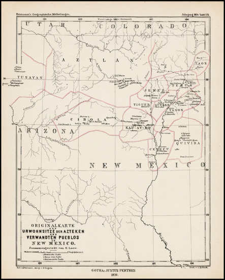 94-Southwest, Arizona, New Mexico and Rocky Mountains Map By Augustus Herman Petermann