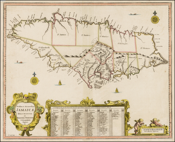 37-Jamaica Map By John Ogilby