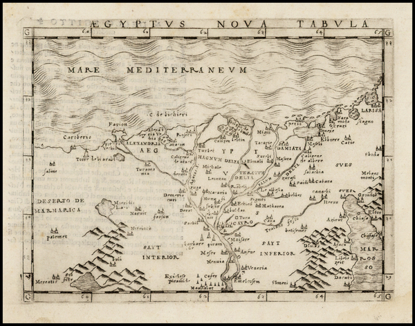 81-Egypt Map By Giacomo Gastaldi