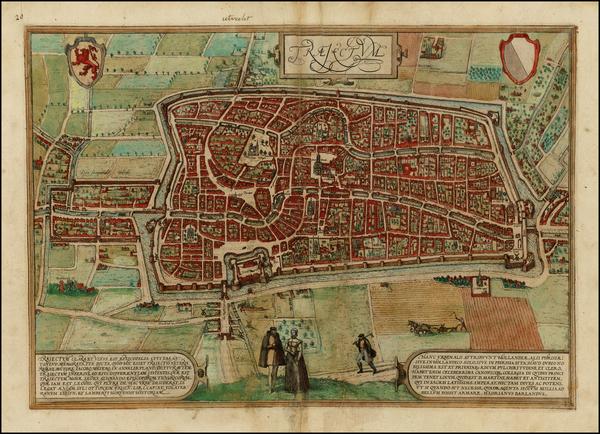 39-Netherlands Map By Georg Braun  &  Frans Hogenberg