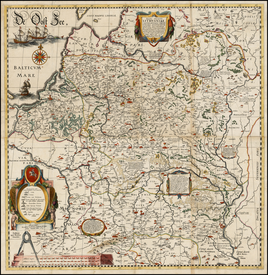 90-Poland, Russia, Ukraine and Baltic Countries Map By Willem Janszoon Blaeu / Hessel Gerritsz