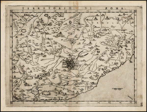 77-Italy Map By Girolamo Ruscelli