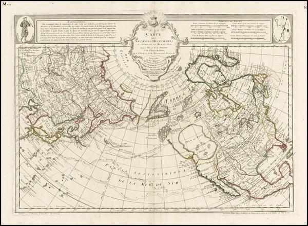 4-Alaska, North America, Canada, China, Japan, Pacific and Russia in Asia Map By Philippe Buache