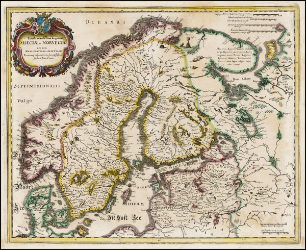 34-Scandinavia Map By Matthaus Merian