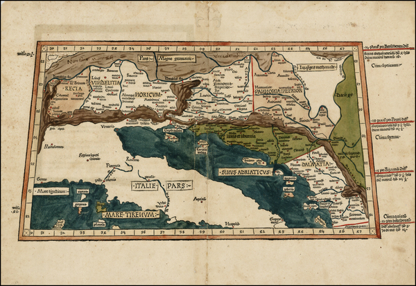 76-Balkans and Italy Map By Claudius Ptolemy / Lienhart Holle
