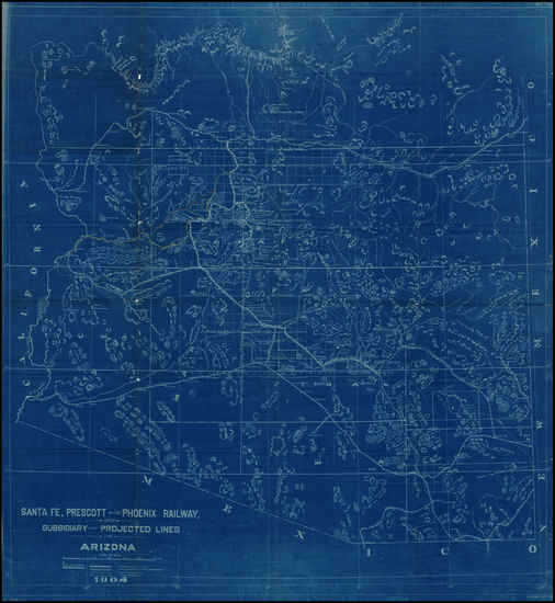 Southwest and Arizona Map By Santa Fe Railroad