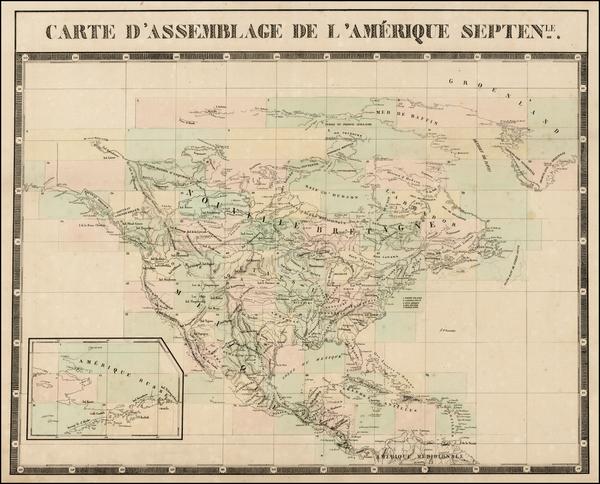 43-North America Map By Philippe Marie Vandermaelen