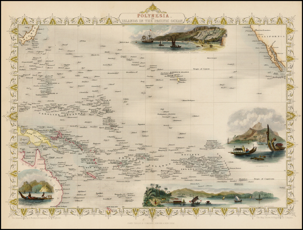 63-Pacific, Oceania, Hawaii and Other Pacific Islands Map By John Tallis