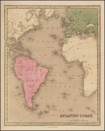 19-Atlantic Ocean, South America and America Map By Thomas Gamaliel Bradford  &  Goodrich
