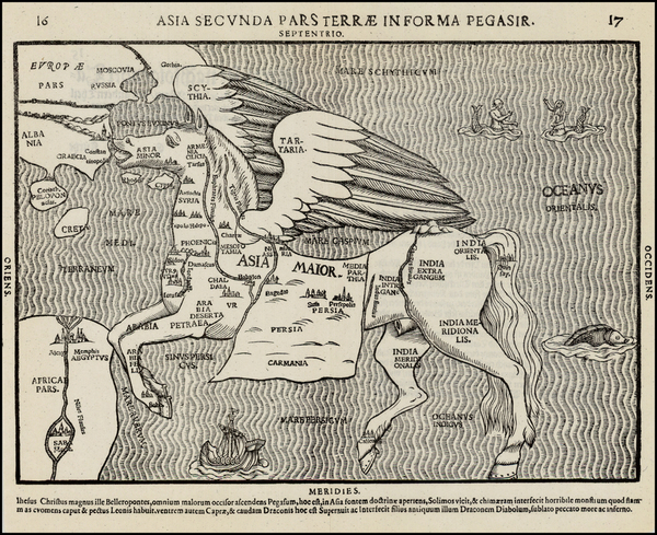 51-Asia, Asia, Southeast Asia, Curiosities and Comic & Anthropomorphic Map By Heinrich Bunting
