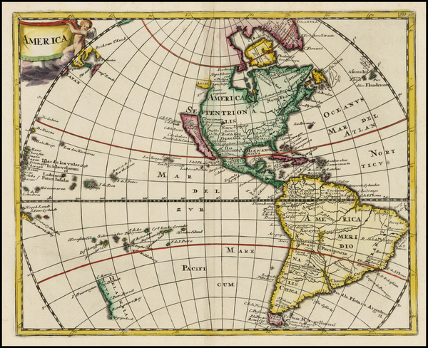 93-Western Hemisphere, South America, Pacific, New Zealand and America Map By Philipp Clüver