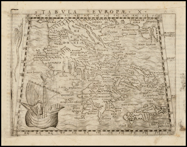 87-Greece and Balearic Islands Map By Giacomo Gastaldi