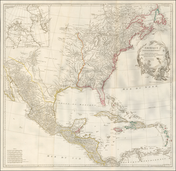 43-North America Map By Jean-Baptiste Bourguignon d'Anville