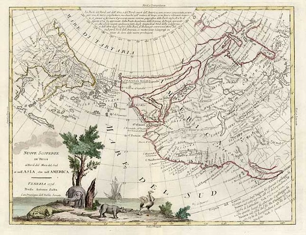 41-World, Alaska, North America and Pacific Map By Antonio Zatta