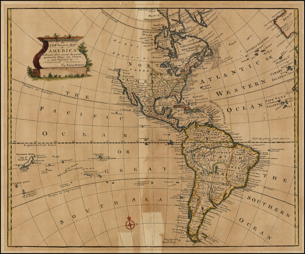 23-South America and America Map By Emanuel Bowen