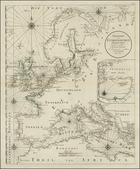 76-Europe, Europe, Baltic Countries, Mediterranean and Scandinavia Map By Franz Anton Schraembl