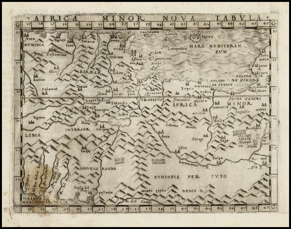 48-Mediterranean, Balearic Islands and North Africa Map By Giacomo Gastaldi