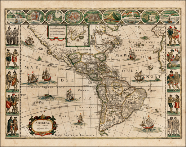 16-Western Hemisphere, North America, South America and America Map By Willem Janszoon Blaeu