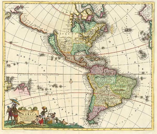 59-South America, Australia & Oceania, Australia, Oceania and America Map By Justus Danckerts